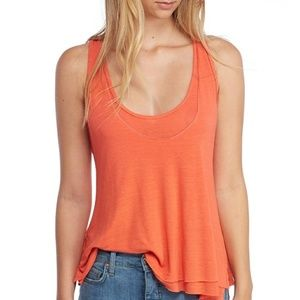 Free People Karmen Coral Double Layer Tank Top